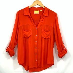 Anthropologie MAEVE long sleeve button down Orange